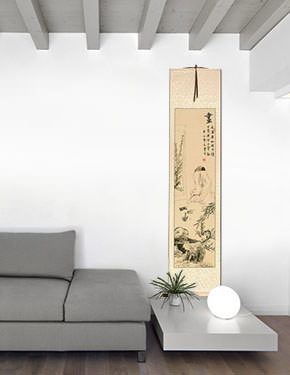 Man Enjoying a Painting - Wall Scroll living room view