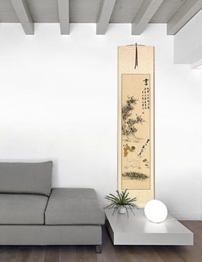 Noble Man Writing Calligraphy - Wall Scroll living room view
