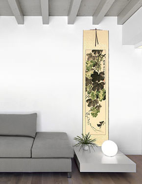 Great Harvest - Birds and Grapes - Chinese Wall Scroll living room view