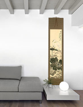 Melancholy - Egret Birds and Flower Wall Scroll living room view