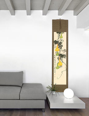 Gourd Vine and Birds - Chinese Wall Scroll living room view