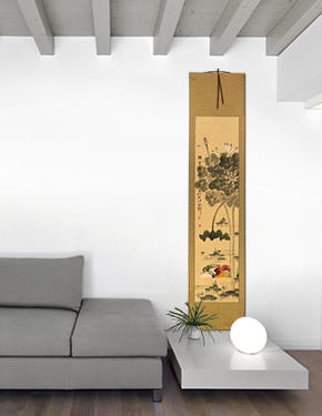 Mandarin Ducks & Lotus Flowers - Together Forever - Chinese Wall Scroll living room view