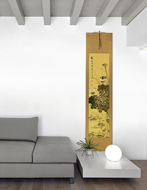 Fragrance - Chinese Birds and Lotus Wall Scroll living room view
