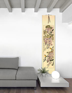 Purple Cloud, Fragrant Breeze - Chinese Wall Scroll living room view