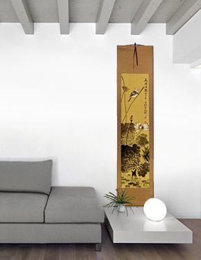 Bird in Perched over Lotus Pond - Chinese Wall Scroll living room view