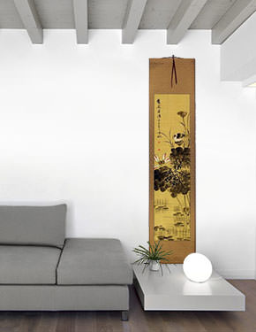 Fresh Fragrance - Birds and Lotus Wall Scroll living room view