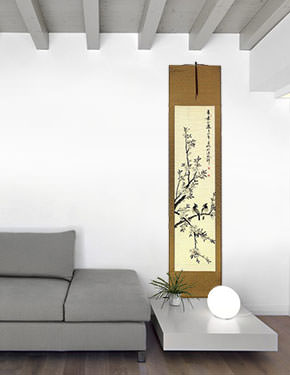 Birds in Perched on Loquat Tree - Chinese Wall Scroll living room view