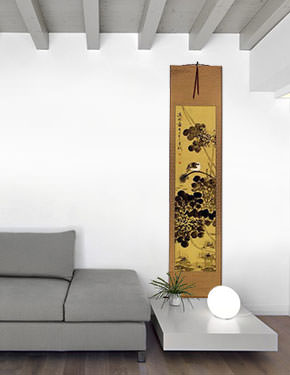 Clear Dawn - Bird and Lotus Pond - Chinese Wall Scroll living room view