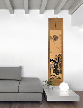 Kingfisher Bird in Alighting on Lotus Flower - Chinese Wall Scroll living room view