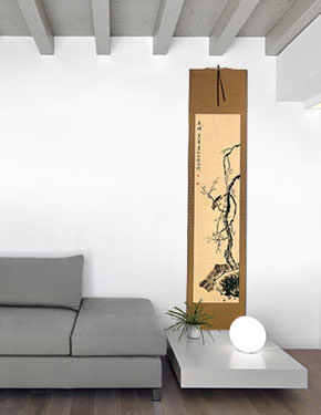 Clear Winter - Plum Blossom - Chinese Wall Scroll living room view