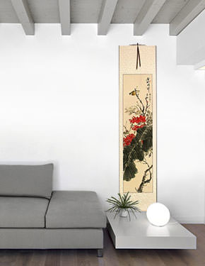 Golden Autumn Rhythm - Bird and Flower - Chinese Wall Scroll living room view