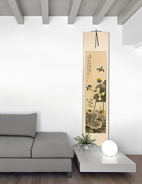 Kingfisher Birds in Autumn Lotus Pond - Chinese Wall Scroll living room view