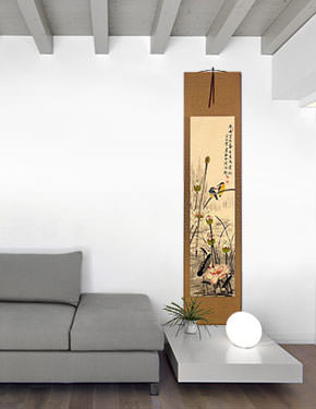 Kingfisher Birds Above the Lotus Pond - Wall Scroll living room view