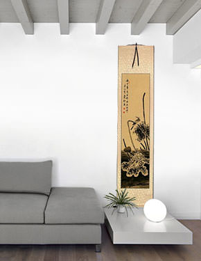 Kingfisher Bird and Withering Lotus - Wall Scroll living room view