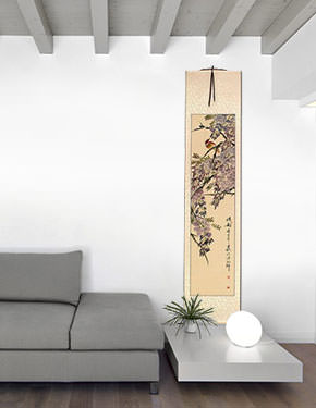 Beautiful Feeling - Bird and Flowering Branch Wall Scroll living room view