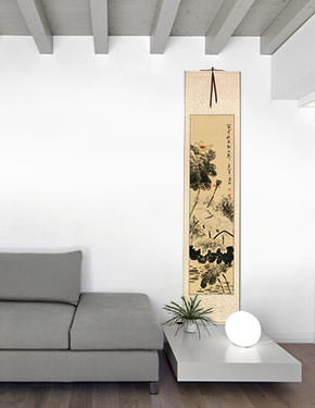 Autumn Rain - Lotus Flower and Egret Birds Wall Scroll living room view