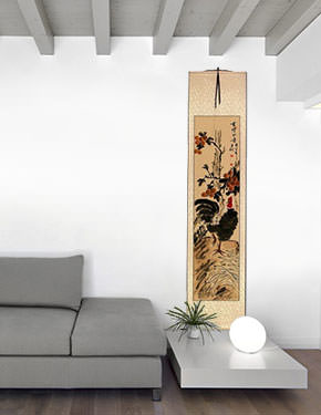 Good Luck Rooster and Lychee Wall Scroll living room view