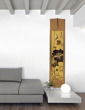 Beautiful Feeling - Bird Perched on Lotus Flowers Wall Scroll living room view