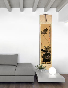 Kingfisher Bird in Perched on Lotus - Wall Scroll living room view