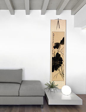 Fragrance of Lotus - Chinese Bird and Flower Wall Scroll living room view