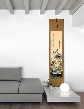 Withering Lotus & Kingfisher Bird - Chinese Wall Scroll living room view