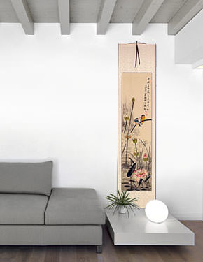 Kingfisher Birds Amidst Lotus Flowers - Wall Scroll living room view