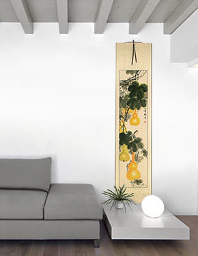 Yellow Gourds - Heavenly Fruit - Chinese Wall Scroll living room view