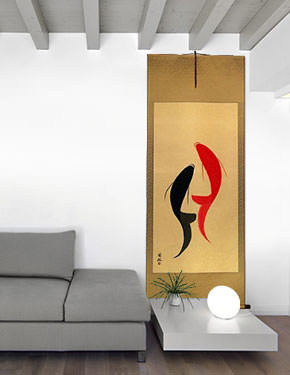 Large Abstract Yin Yang Fish Asian Scroll living room view