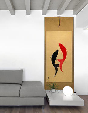 Abstract Fish Yin Yang Wall Scroll living room view