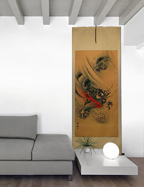 Flying Chinese Dragon - Chinese Wall Scroll living room view