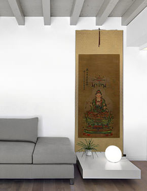 Guanyin / Kuan Yin / Kannon - Partial-Print Wall Scroll living room view