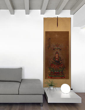 Guanyin / Kuan Yin / Kannon - Partial-Print - Large Wall Scroll living room view