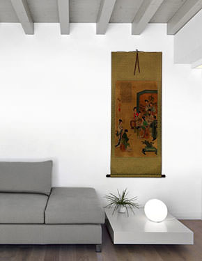 Musicians Gathering Partial-Print Wall Scroll living room view