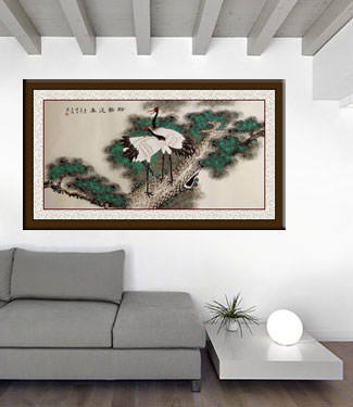 Pine Tree and Cranes Longevity - Large Painting living room view