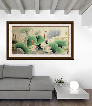 Lotus, Bamboo and Dragonfly - Beautiful Flowers Painting living room view