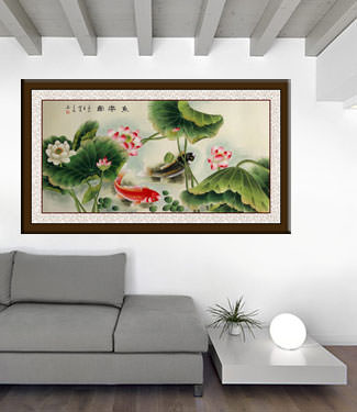 Koi Fish Having Fun in the Lotus Flowers - Large Painting living room view