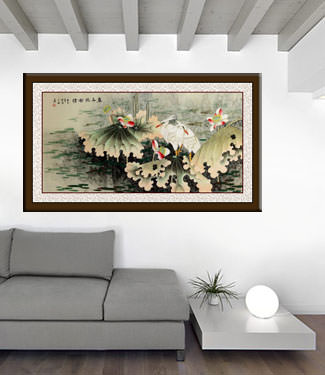 Egrets and Lotus Flowers - Eternal Love - Large Painting living room view