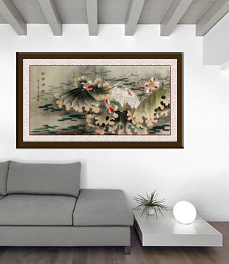 Sentimental Egrets in the Lotus Pond - Large Painting living room view
