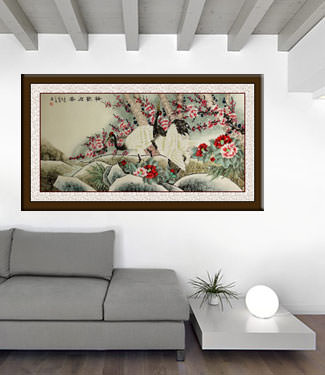 Asian Cranes with Plum Blossoms Peony Flowers - Large Painting living room view