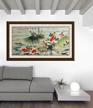 Year In, Year Out, Have Riches - Koi Fish and Lotus Flowers - Large Painting living room view