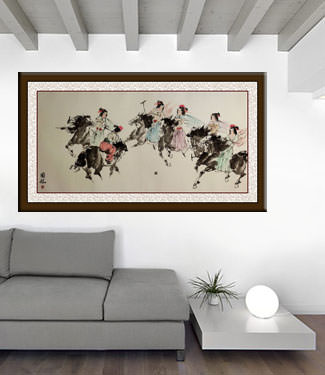 Old Chinese Horseback Polo - Large Painting living room view