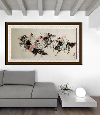 Classic Chinese Horseback Polo - Large Painting living room view