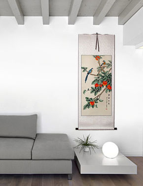 Bird and Persimmon - The Golden Autumn - Chinese Scroll living room view