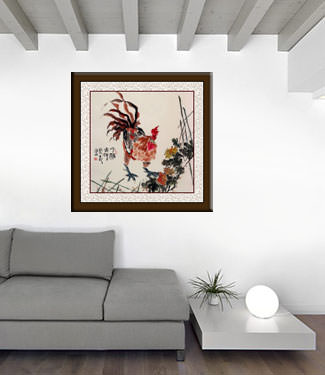 Chinese Rooster Painting living room view