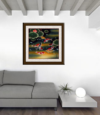 Nine Koi Fish and Lotus Flowers Painting living room view