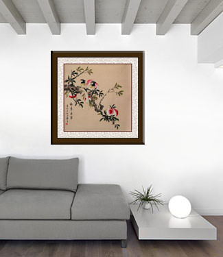 Good Fortune Longevity Health & Peace - Birds and Peaches Painting living room view