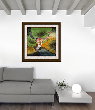 Elegant Egrets in the Lotus Pond - Large Painting living room view