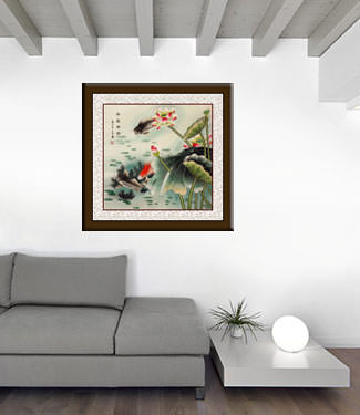 Year In, Year Out, Have Riches - Koi Fish and Lotus Flowers - Watercolor Painting living room view