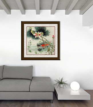 Big Koi Fish and Lotus Flower Chinese Painting living room view