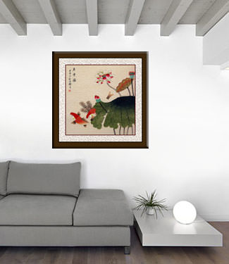 Koi Fish Having Fun in the Lotus Flowers - Oriental Painting living room view